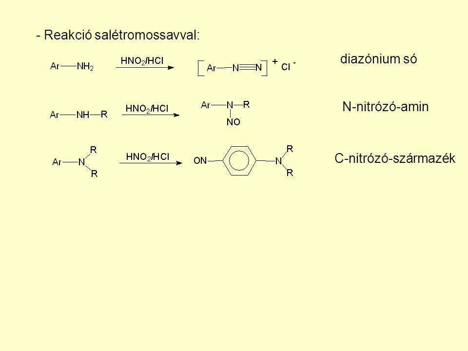 - Reakció salétromossavval: diazónium só C-nitrózó-származék N-nitrózó-amin