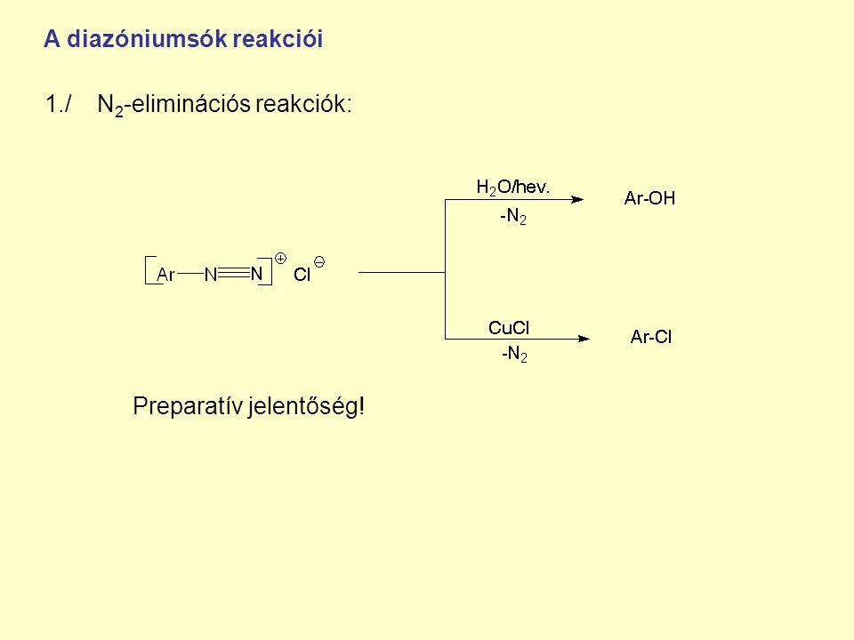 1./ N 2 -eliminációs reakciók: Preparatív jelentőség! A diazóniumsók reakciói