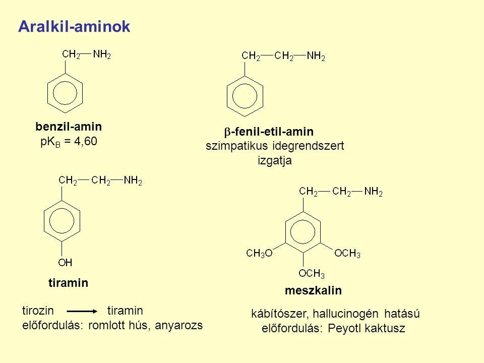Aralkil-aminok benzil-amin pK B = 4,60 -fenil-etil-amin tirozin tiramin előfordulás: romlott hús, anyarozs kábítószer, hallucinogén hatású előfordulás: Peyotl kaktusz szimpatikus idegrendszert izgatja meszkalin tiramin