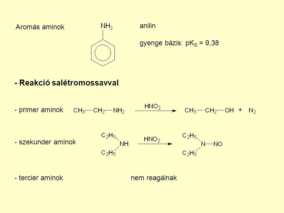 Aromás aminok anilin gyenge bázis: pK B = 9,38 - Reakció salétromossavval - primer aminok - szekunder aminok - tercier aminoknem reagálnak