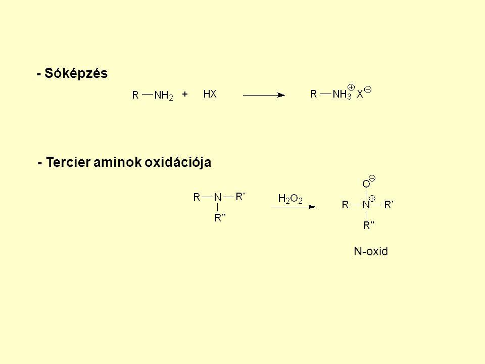 - Sóképzés - Tercier aminok oxidációja N-oxid