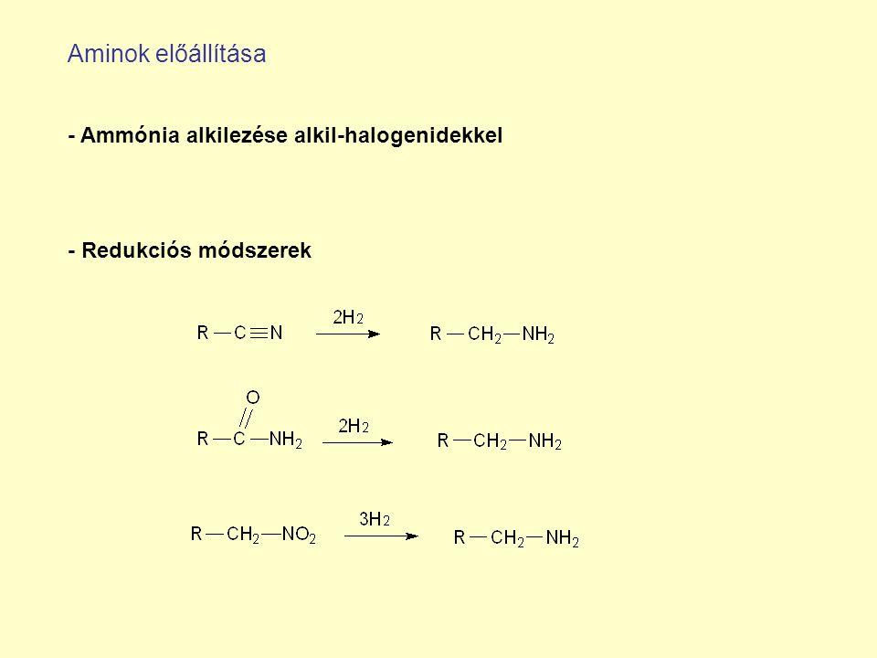 Aminok előállítása - Ammónia alkilezése alkil-halogenidekkel - Redukciós módszerek