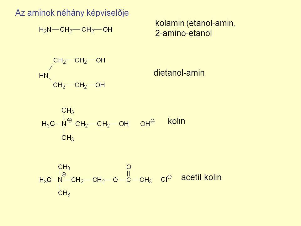 kolamin (etanol-amin, 2-amino-etanol dietanol-amin kolin acetil-kolin Az aminok néhány képviselője