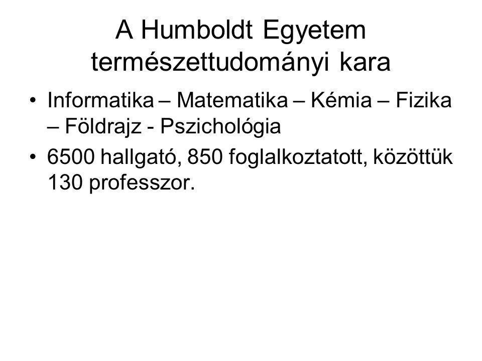 A Humboldt Egyetem természettudományi kara Informatika – Matematika – Kémia – Fizika – Földrajz - Pszichológia 6500 hallgató, 850 foglalkoztatott, köz
