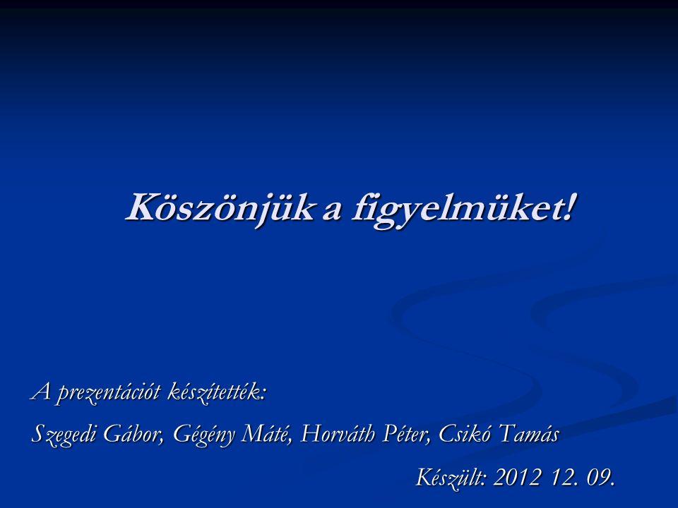 Köszönjük a figyelmüket! A prezentációt készítették: Szegedi Gábor, Gégény Máté, Horváth Péter, Csikó Tamás Készült: 2012 12. 09. Készült: 2012 12. 09