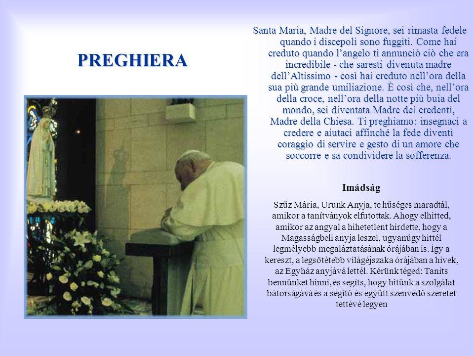 PREGHIERA Santa Maria, Madre del Signore, sei rimasta fedele quando i discepoli sono fuggiti. Come hai creduto quando langelo ti annunciò ciò che era