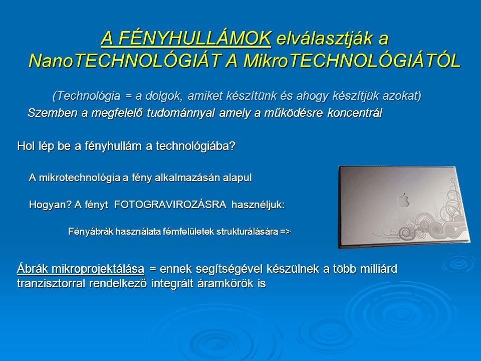 A FÉNYHULLÁMOK elválasztják a NanoTECHNOLÓGIÁT A MikroTECHNOLÓGIÁTÓL A FÉNYHULLÁMOK elválasztják a NanoTECHNOLÓGIÁT A MikroTECHNOLÓGIÁTÓL (Technológia = a dolgok, amiket készítünk és ahogy készítjük azokat) Szemben a megfelelő tudománnyal amely a működésre koncentrál Szemben a megfelelő tudománnyal amely a működésre koncentrál Hol lép be a fényhullám a technológiába.
