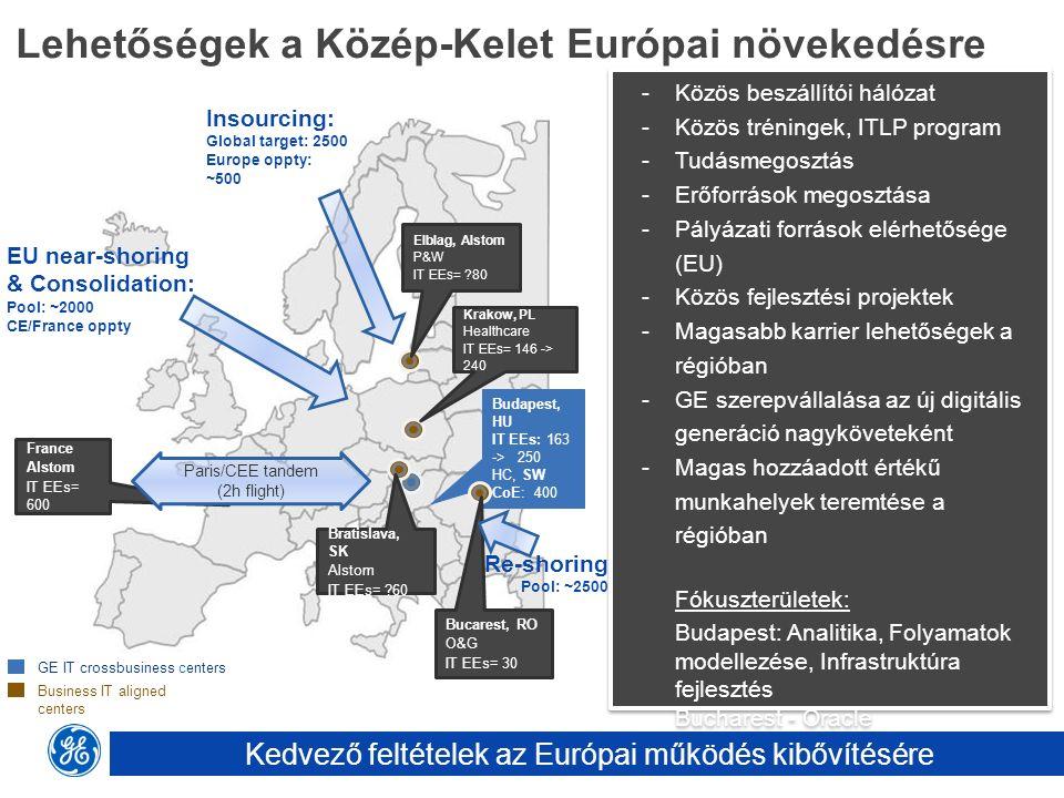 Lehetőségek a Közép-Kelet Európai növekedésre Business IT aligned centers GE IT crossbusiness centers -Közös beszállítói hálózat -Közös tréningek, ITL