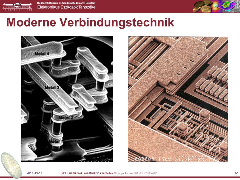 Budapesti Műszaki és Gazdaságtudomanyi Egyetem Elektronikus Eszközök Tanszéke 2011-11-11 CMOS áramkörök, konstrukciós kérdések © Poppe András, BME-EET 2008-2011 32 Moderne Verbindungstechnik