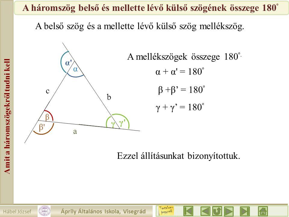 Hábel József Áprily Általános Iskola, Visegrád Amit a háromszögekről tudni kell β a b c α γ γ'γ' α'α' β'β' A belső szög és a mellette lévő külső szög