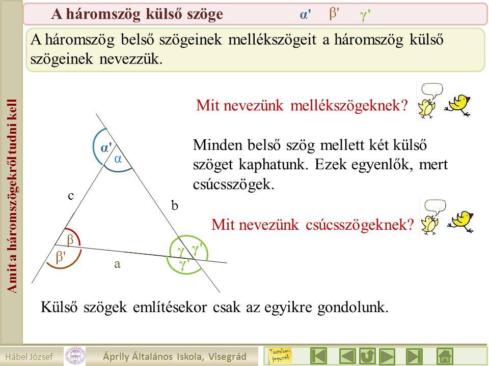 Hábel József Áprily Általános Iskola, Visegrád Amit a háromszögekről tudni kell A háromszög külső szöge β a b c α γ γ'γ' α'α' β'β' A háromszög belső s