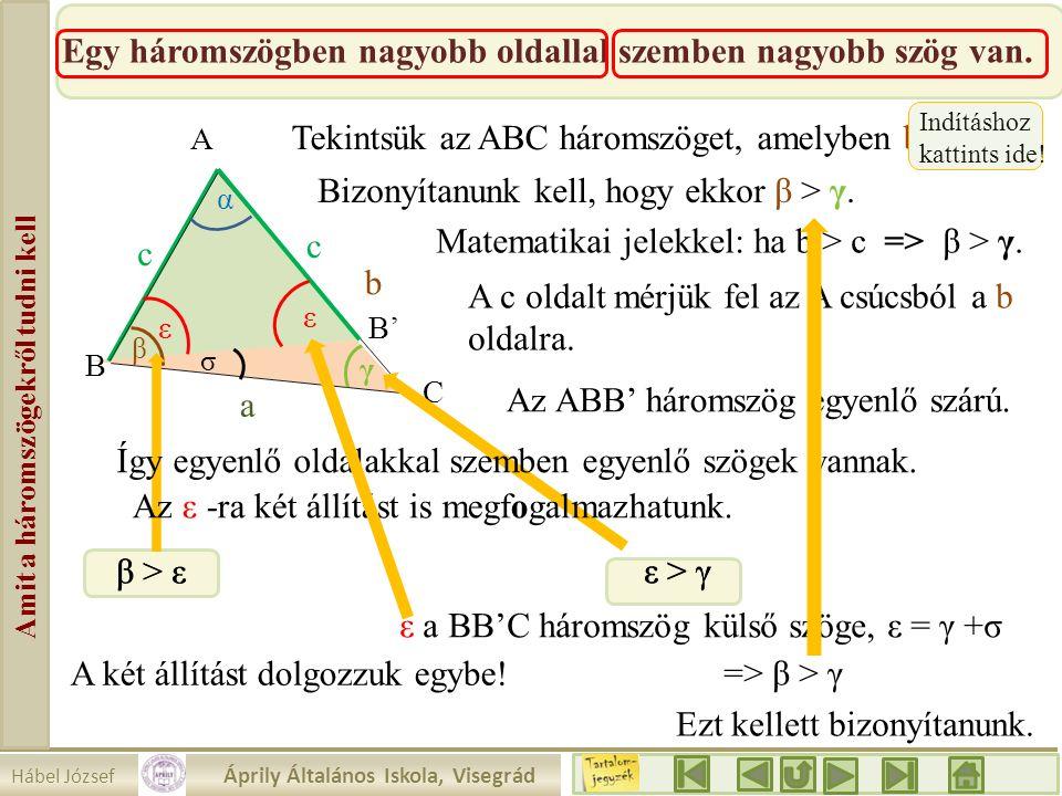 Hábel József Áprily Általános Iskola, Visegrád Amit a háromszögekről tudni kell Egy háromszögben nagyobb oldallal szemben nagyobb szög van. β a b c α
