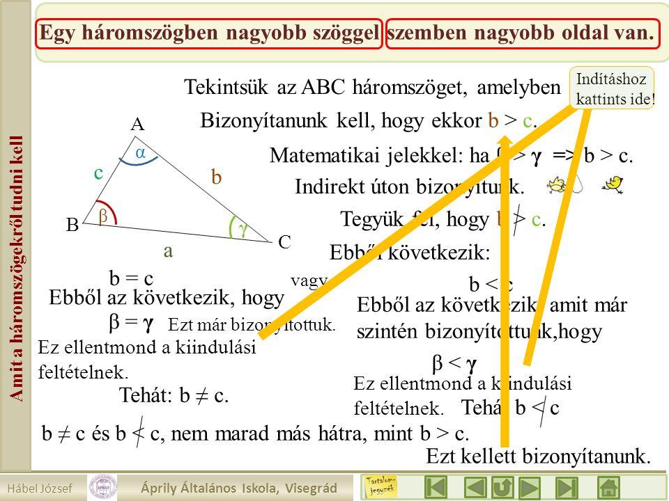 Hábel József Áprily Általános Iskola, Visegrád Amit a háromszögekről tudni kell Egy háromszögben nagyobb szöggel szemben nagyobb oldal van. β a b c α