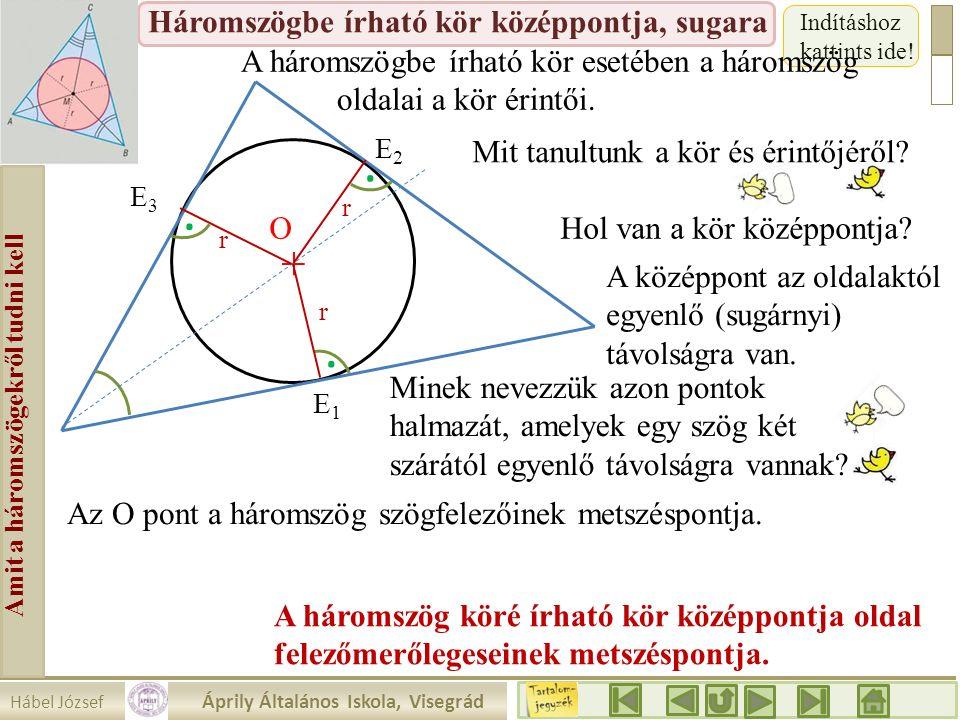 Hábel József Áprily Általános Iskola, Visegrád Amit a háromszögekről tudni kell Háromszögbe írható kör középpontja, sugara Indításhoz kattints ide! A