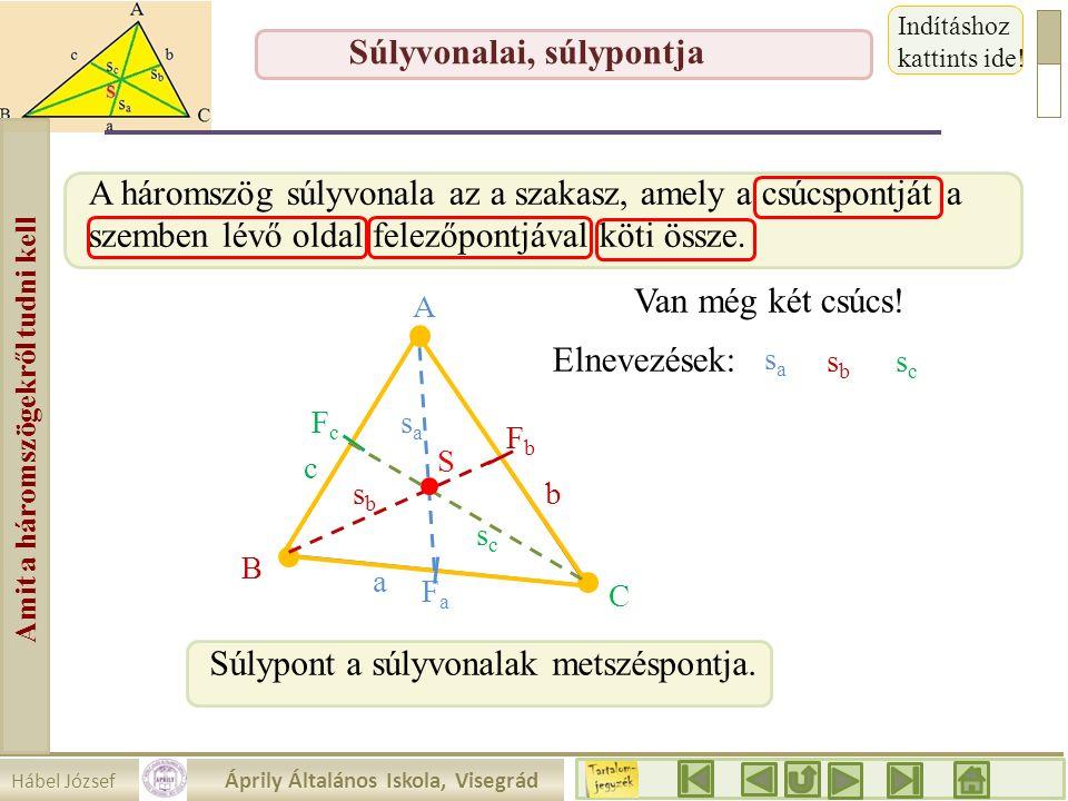 Hábel József Áprily Általános Iskola, Visegrád Amit a háromszögekről tudni kell Súlyvonalai, súlypontja A háromszög súlyvonala az a szakasz, amely a c