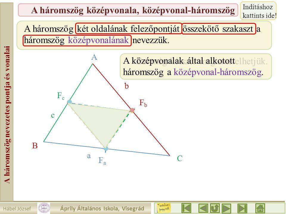 Hábel József Áprily Általános Iskola, Visegrád A háromszög nevezetes pontja és vonalai A háromszög középvonala, középvonal-háromszög A háromszög két o