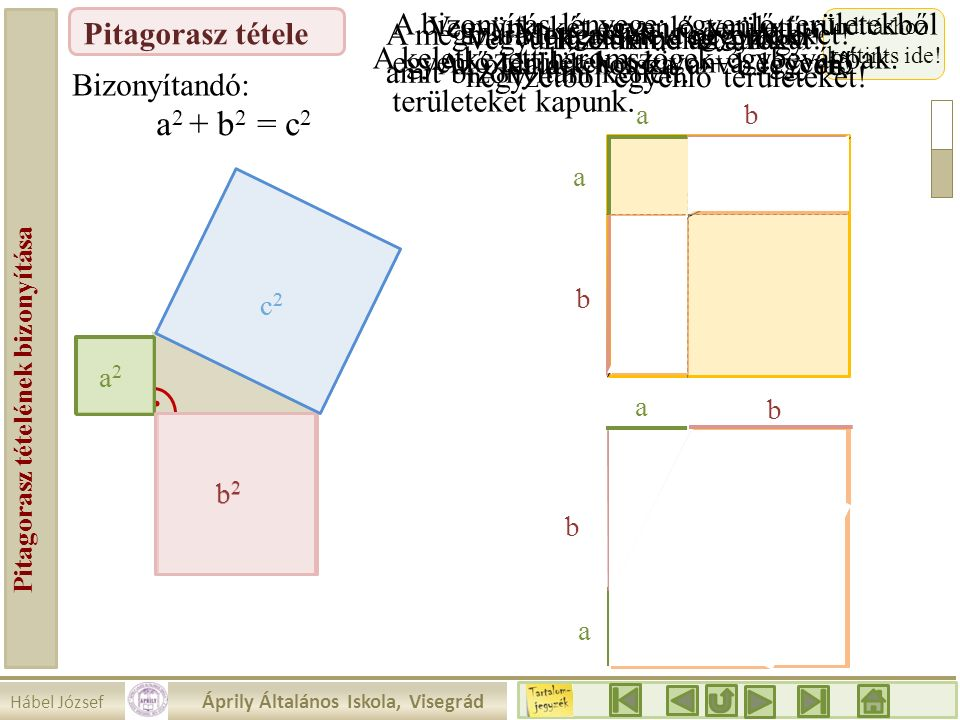Hábel József Áprily Általános Iskola, Visegrád Pitagorasz tételének bizonyítása Pitagorasz tétele a2a2 Vegyünk két egyenlő területű négyzetet! Indítás
