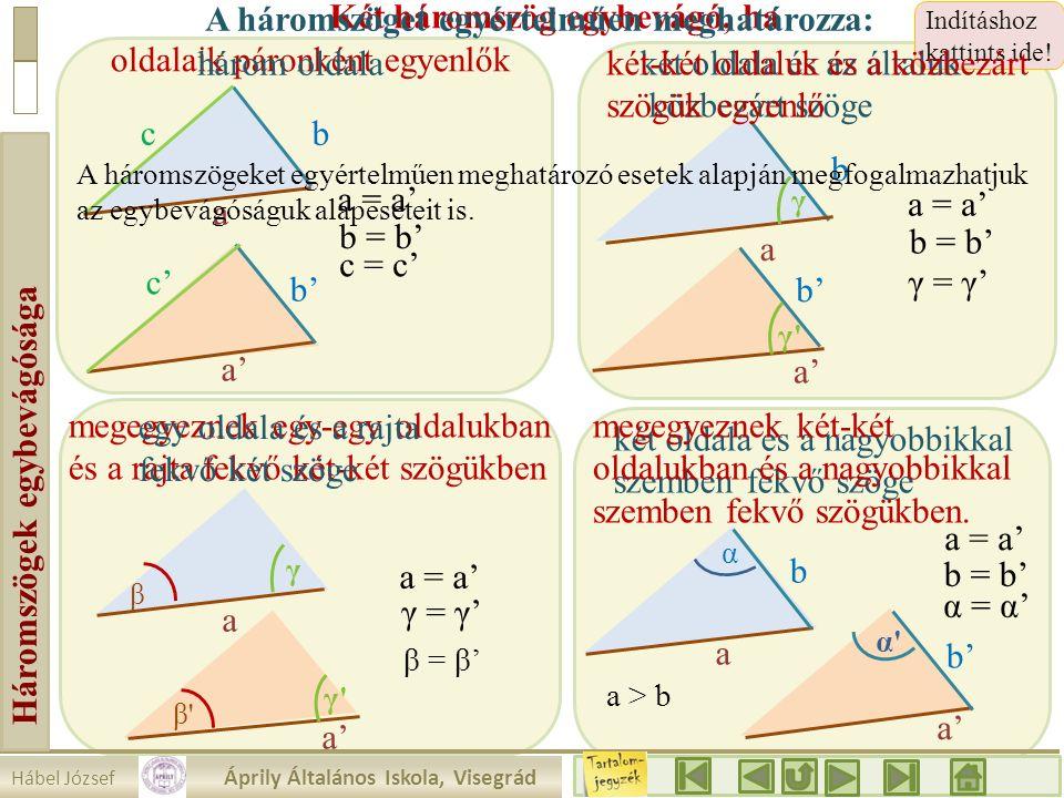 Hábel József Áprily Általános Iskola, Visegrád Háromszögek egybevágósága megegyeznek egy-egy oldalukban és a rajta fekvő két-két szögükben Indításhoz