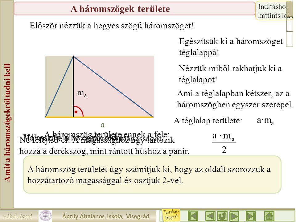 Hábel József Áprily Általános Iskola, Visegrád Amit a háromszögekről tudni kell A háromszögek területe 1.a. a mama Oldalak szerint b c Mindegyik oldal