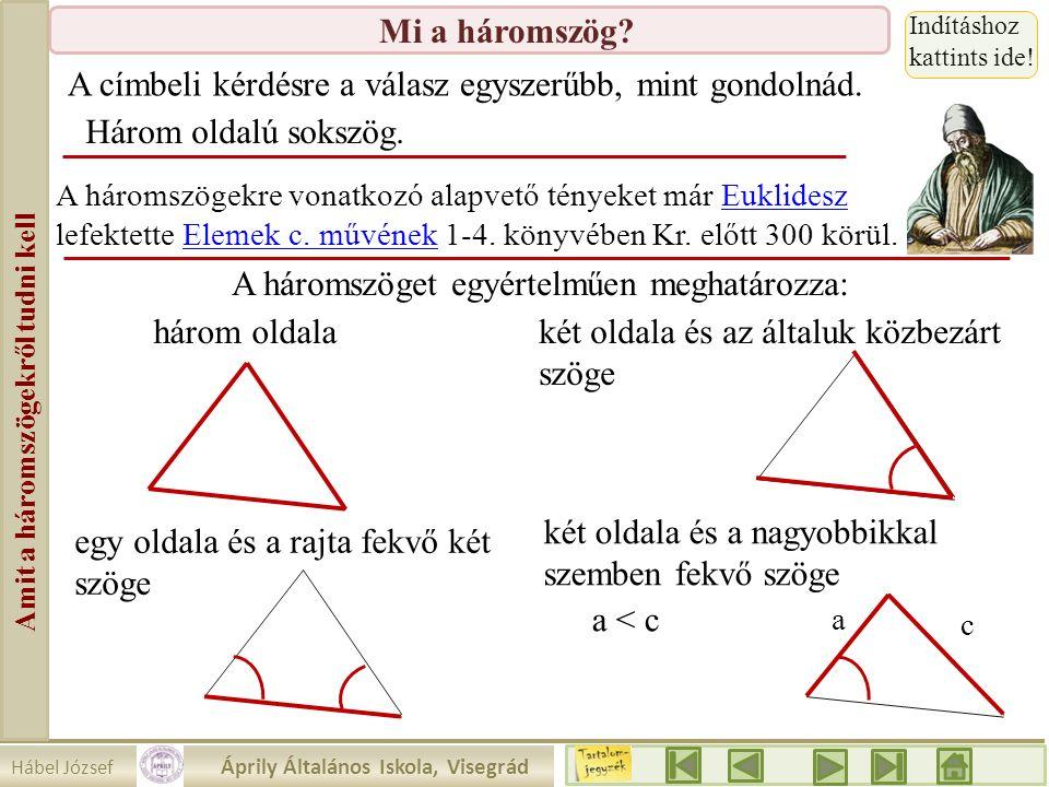 Hábel József Áprily Általános Iskola, Visegrád Amit a háromszögekről tudni kell Mi a háromszög? a c A címbeli kérdésre a válasz egyszerűbb, mint gondo