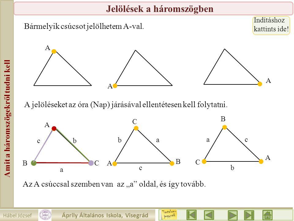 Hábel József Áprily Általános Iskola, Visegrád Amit a háromszögekről tudni kell Jelölések a háromszögben Bármelyik csúcsot jelölhetem A-val. A A A A A