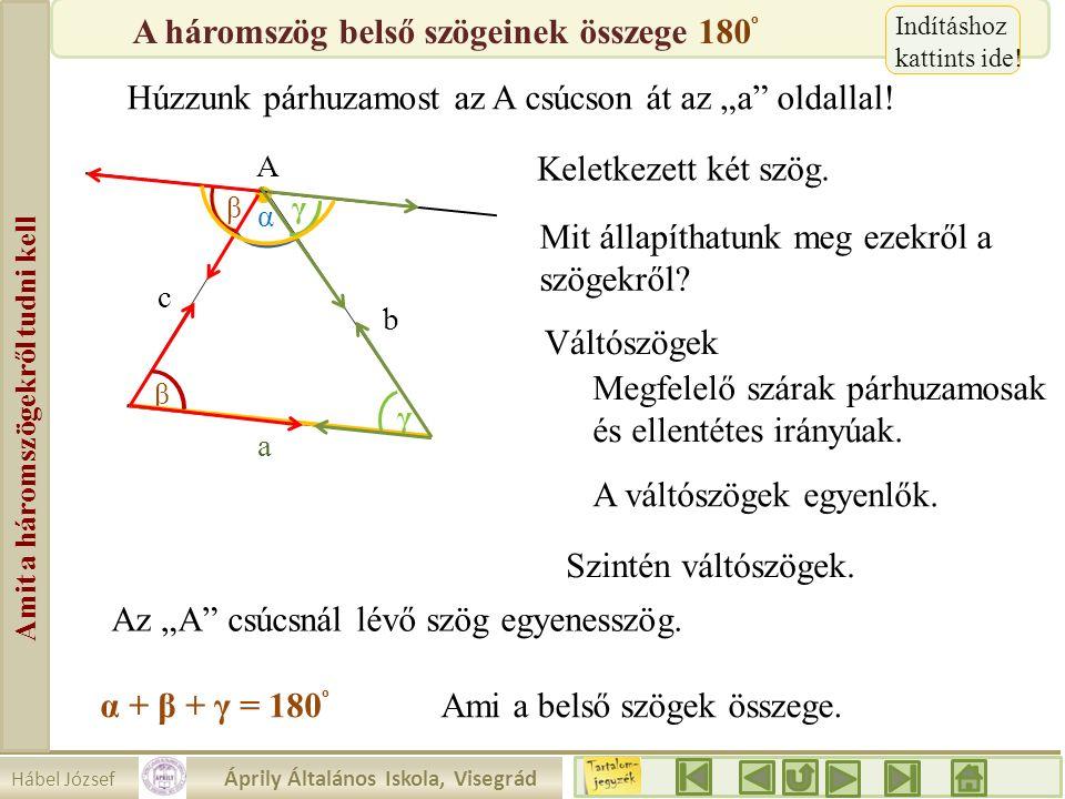 """Hábel József Áprily Általános Iskola, Visegrád Amit a háromszögekről tudni kell β A Húzzunk párhuzamost az A csúcson át az """"a"""" oldallal! a b c α γ Kel"""