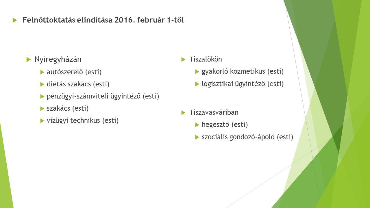  Felnőttoktatás elindítása 2016. február 1-től  Nyíregyházán  autószerelő (esti)  diétás szakács (esti)  pénzügyi-számviteli ügyintéző (esti)  s