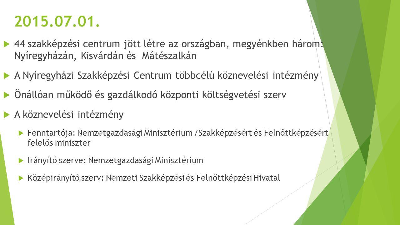2015.07.01.  44 szakképzési centrum jött létre az országban, megyénkben három: Nyíregyházán, Kisvárdán és Mátészalkán  A Nyíregyházi Szakképzési Cen