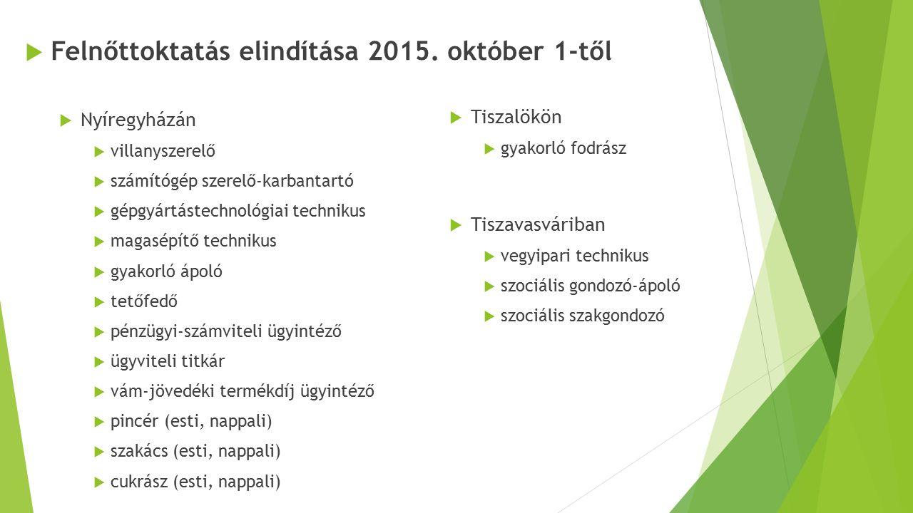  Felnőttoktatás elindítása 2015. október 1-től  Nyíregyházán  villanyszerelő  számítógép szerelő-karbantartó  gépgyártástechnológiai technikus 