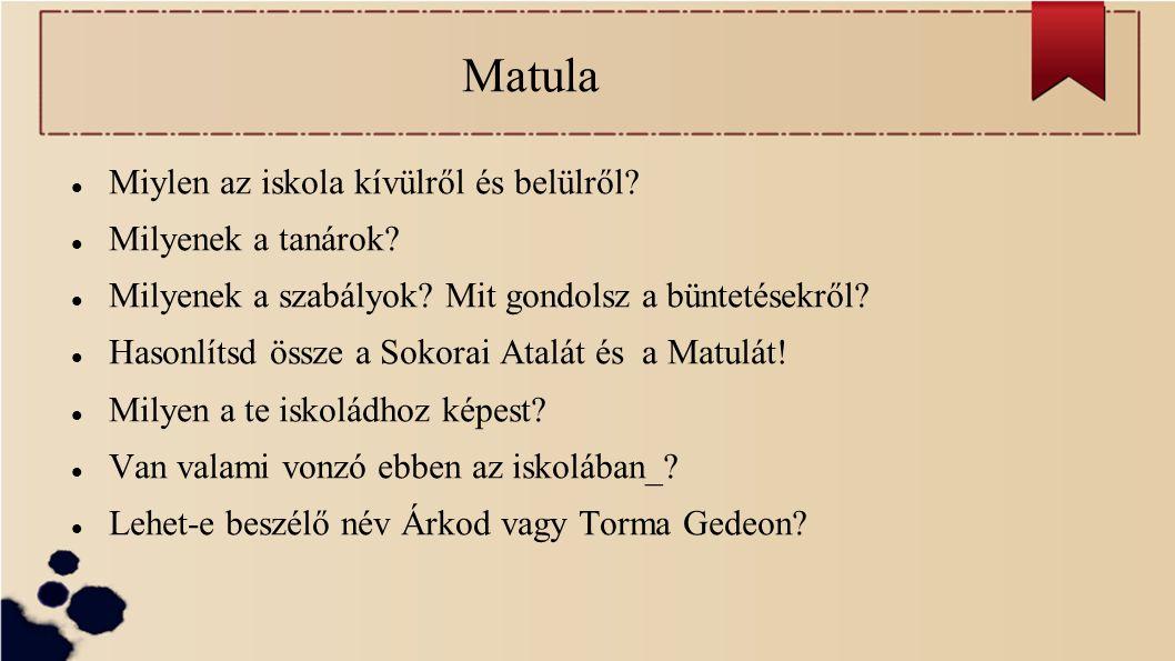 Matula Miylen az iskola kívülről és belülről? Milyenek a tanárok? Milyenek a szabályok? Mit gondolsz a büntetésekről? Hasonlítsd össze a Sokorai Atalá