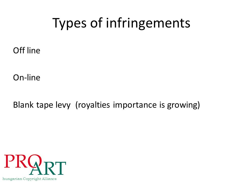 Types of infringements Off line On-line Blank tape levy (royalties importance is growing) hungarian Copyright Alliance