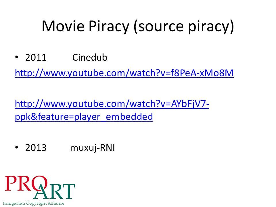 Movie Piracy (source piracy) 2011 Cinedub http://www.youtube.com/watch?v=f8PeA-xMo8M http://www.youtube.com/watch?v=AYbFjV7- ppk&feature=player_embedd