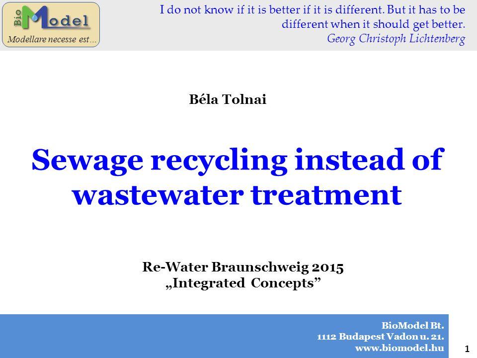 "BioModel Bt. 1112 Budapest Vadon u. 21. www.biomodel.hu 1 Modellare necesse est… Béla Tolnai Re-Water Braunschweig 2015 ""Integrated Concepts"" Sewage r"