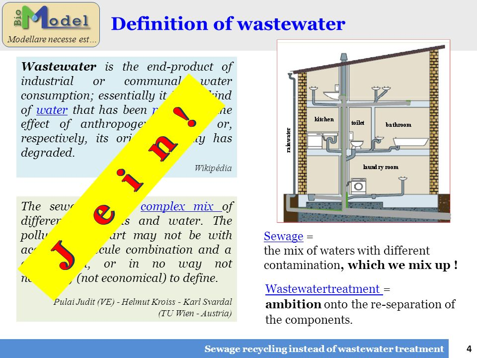 4 Modellare necesse est… Definition of wastewater Sewage recycling instead of wastewater treatment Wastewater is the end-product of industrial or comm