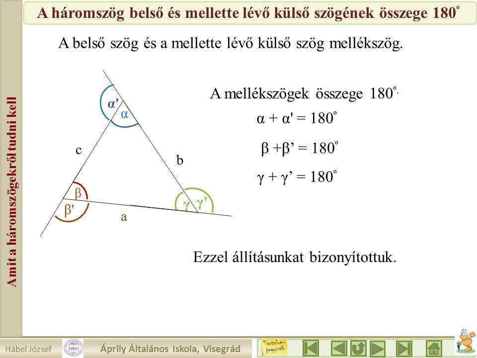 Hábel József Áprily Általános Iskola, Visegrád Amit a háromszögekről tudni kell β a b c α γ γ γ α α β β A belső szög és a mellette lévő külső szög mellékszög.