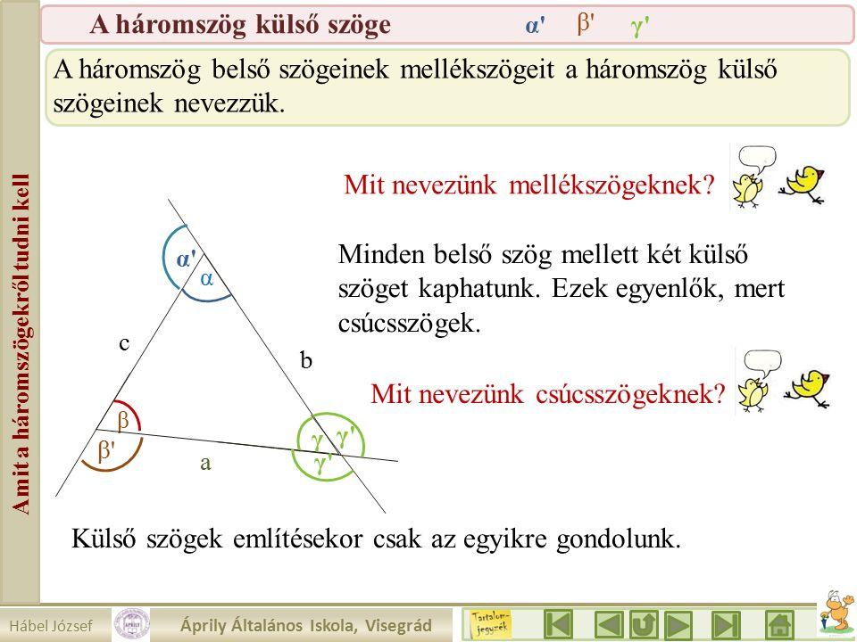 Hábel József Áprily Általános Iskola, Visegrád Amit a háromszögekről tudni kell A háromszög külső szöge β a b c α γ γ γ α α β β A háromszög belső szögeinek mellékszögeit a háromszög külső szögeinek nevezzük.