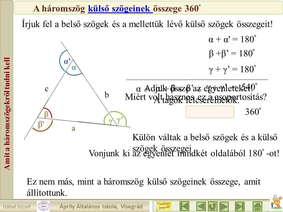 Hábel József Áprily Általános Iskola, Visegrád Amit a háromszögekről tudni kell β a b c α γ γ γ α α β β Írjuk fel a belső szögek és a mellettük lévő külső szögek összegeit.