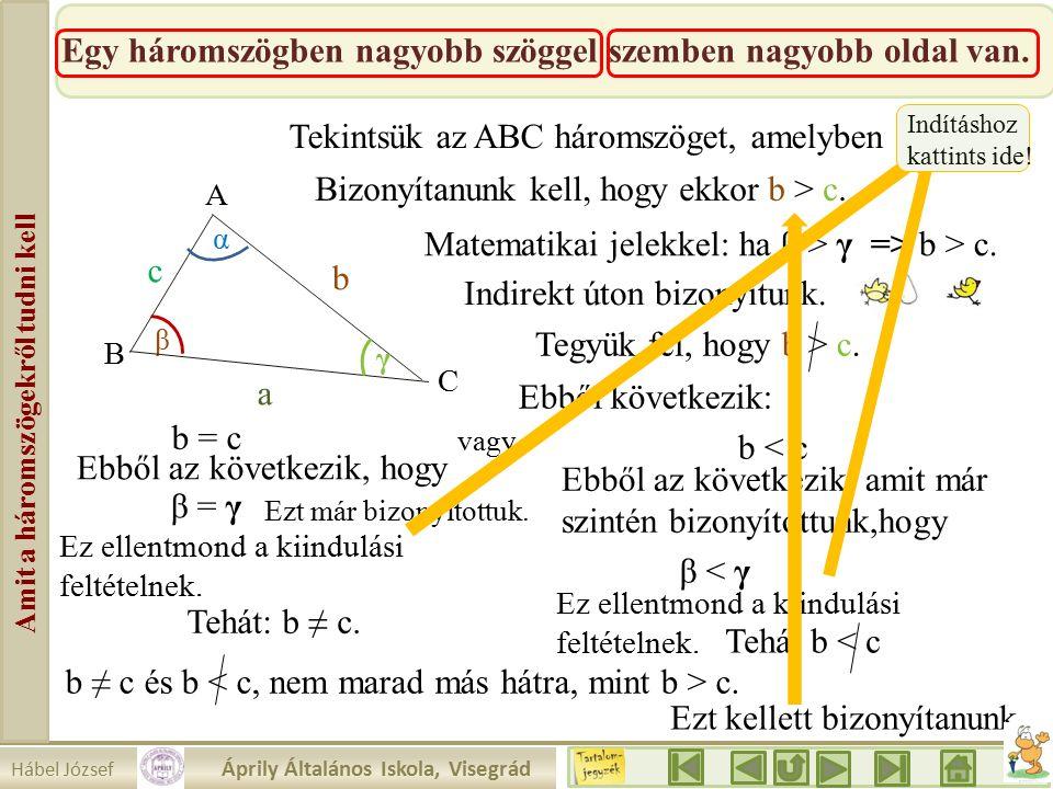 Hábel József Áprily Általános Iskola, Visegrád Amit a háromszögekről tudni kell Egy háromszögben nagyobb szöggel szemben nagyobb oldal van.