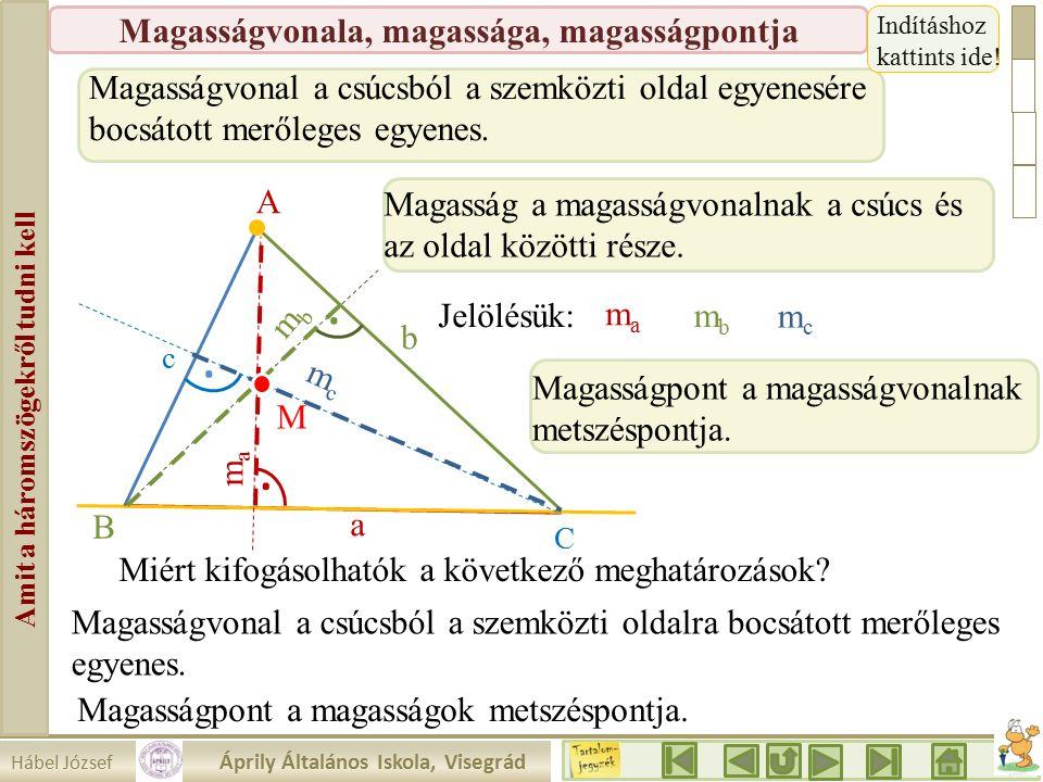 Hábel József Áprily Általános Iskola, Visegrád Amit a háromszögekről tudni kell Magasságvonala, magassága, magasságpontja Magasságvonal a csúcsból a szemközti oldal egyenesére bocsátott merőleges egyenes..