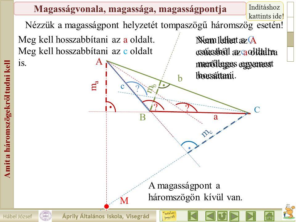 Hábel József Áprily Általános Iskola, Visegrád Amit a háromszögekről tudni kell Magasságvonala, magassága, magasságpontja Nézzük a magasságpont helyzetét tompaszögű háromszög esetén!...