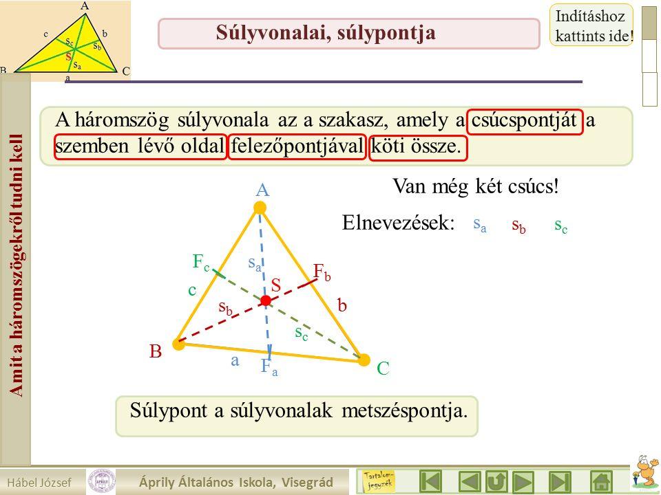 Hábel József Áprily Általános Iskola, Visegrád Amit a háromszögekről tudni kell Súlyvonalai, súlypontja A háromszög súlyvonala az a szakasz, amely a csúcspontját a szemben lévő oldal felezőpontjával köti össze.