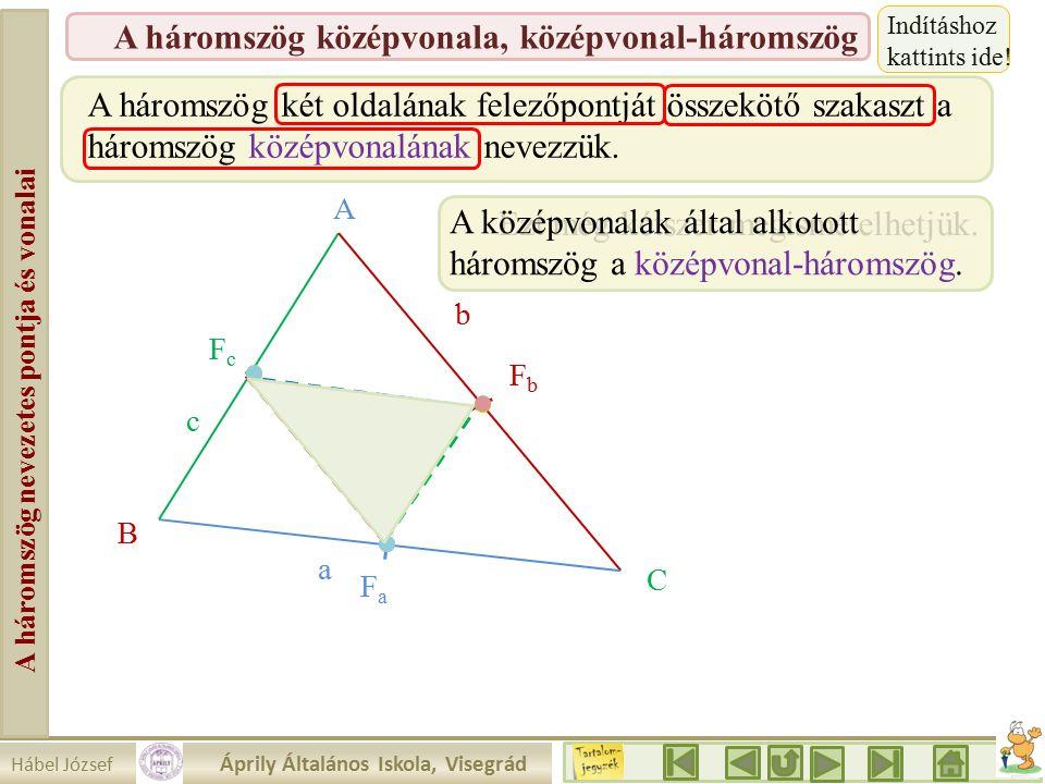 Hábel József Áprily Általános Iskola, Visegrád A háromszög nevezetes pontja és vonalai A háromszög középvonala, középvonal-háromszög A háromszög két oldalának felezőpontját összekötő szakaszt a háromszög középvonalának nevezzük.