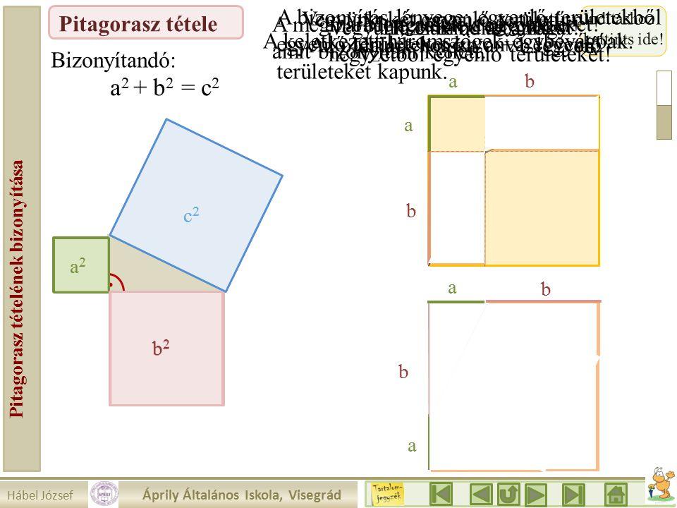 Hábel József Áprily Általános Iskola, Visegrád Pitagorasz tételének bizonyítása Pitagorasz tétele a2a2 Vegyünk két egyenlő területű négyzetet.