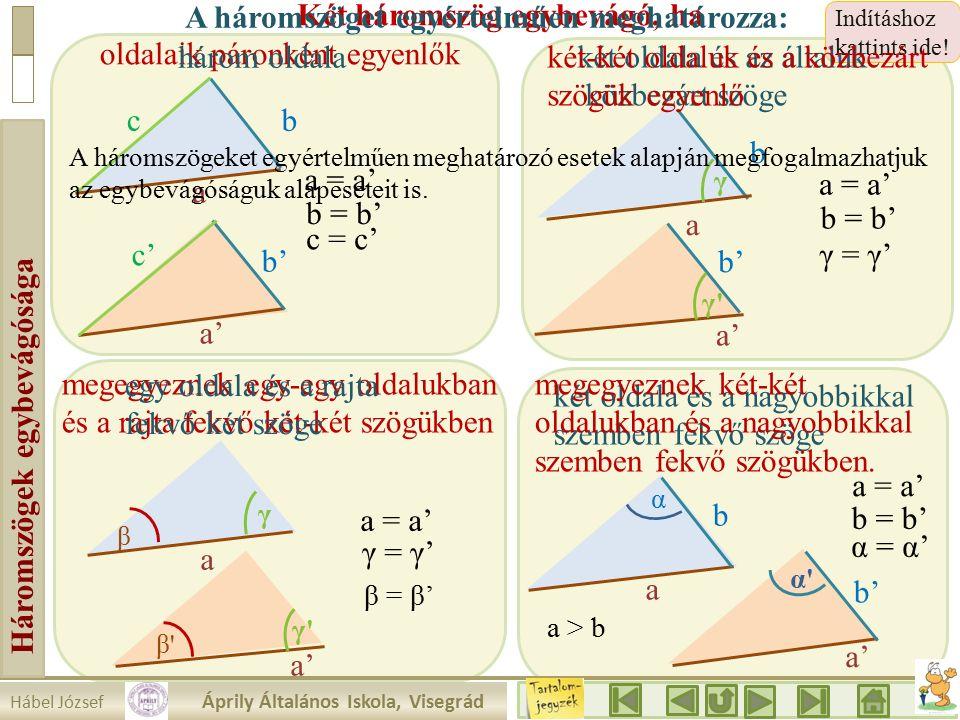 Hábel József Áprily Általános Iskola, Visegrád Háromszögek egybevágósága megegyeznek egy-egy oldalukban és a rajta fekvő két-két szögükben Indításhoz kattints ide.
