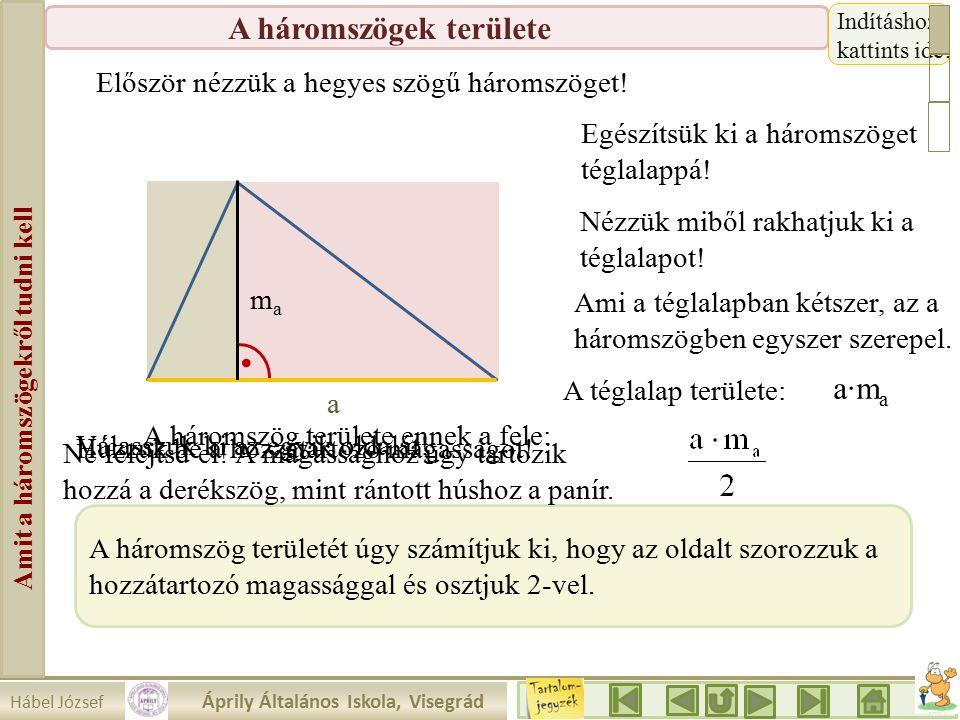 Hábel József Áprily Általános Iskola, Visegrád Amit a háromszögekről tudni kell A háromszögek területe 1.a.