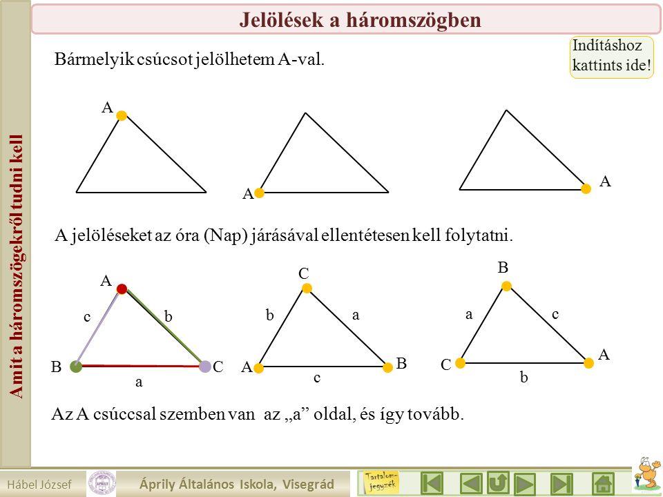 Hábel József Áprily Általános Iskola, Visegrád Amit a háromszögekről tudni kell Jelölések a háromszögben Bármelyik csúcsot jelölhetem A-val.