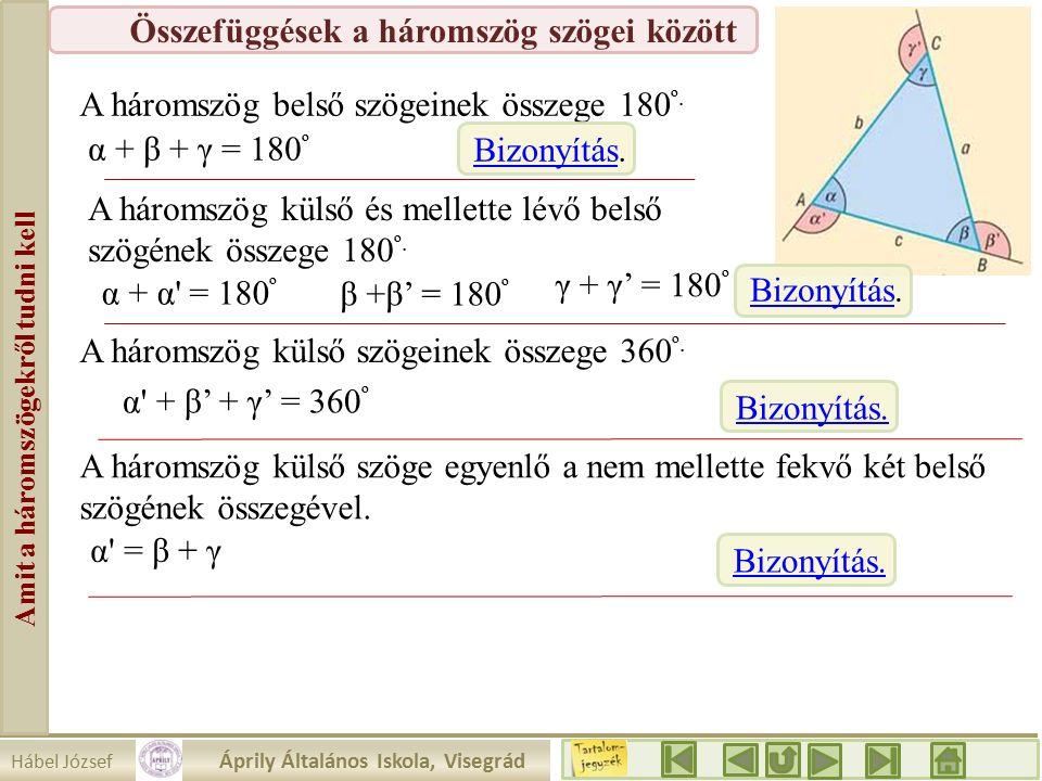 Hábel József Áprily Általános Iskola, Visegrád Amit a háromszögekről tudni kell Összefüggések a háromszög szögei között A háromszög belső szögeinek összege 180 º.