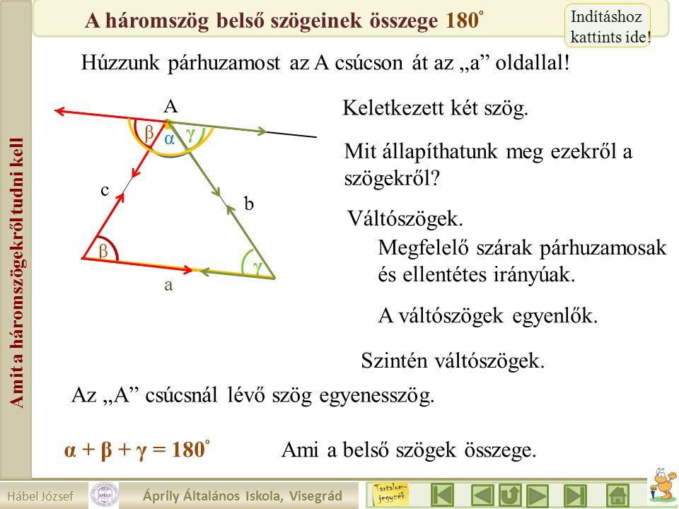 """Hábel József Áprily Általános Iskola, Visegrád Amit a háromszögekről tudni kell β A Húzzunk párhuzamost az A csúcson át az """"a oldallal."""