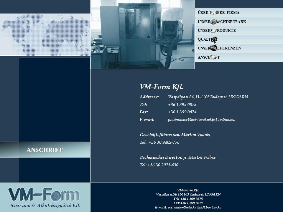 VM-Form Kft. Addresse: Vaspálya u.54, H-1103 Budapest, UNGARN Tel: +36 1 399 0875 Fax: +36 1 399 0874 E-mail: postmaster@mtechnikaikft.t-online.hu Ges