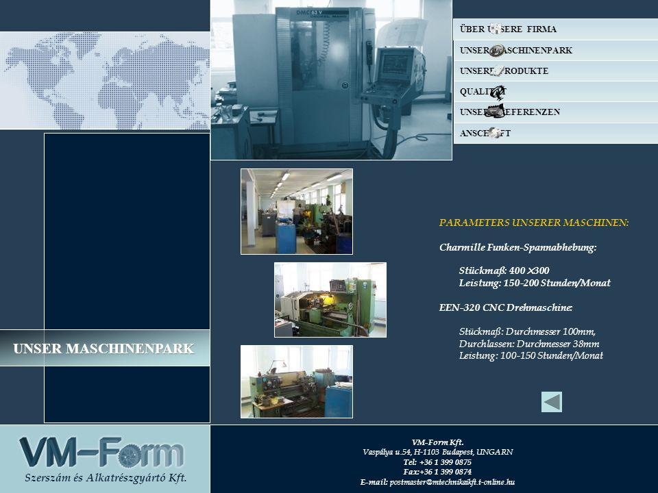 PARAMETERS UNSERER MASCHINEN: Charmille Funken-Spannabhebung: Stückmaß: 400×300 Leistung: 150-200 Stunden/Monat EEN-320 CNC Drehmaschine: Stückmaß: Du